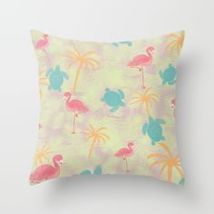 Tropical pattern pillow from Sunshine Inspired Designs available at Society6.