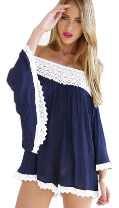 The romper is featuring lace paneled. Elastic off the shoulder design. Batwing sleeve.