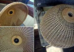 Photo Willow Weaving, Basket Weaving, Wicker Pendant Light, Basket Willow, Diy Lampe, Make A Lamp, Paper Furniture, Upcycled Home Decor, Paper Weaving