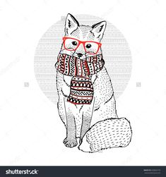 cute fox wearing hipster glasses and ornate scarf, decorative animal illustration, silk screen print