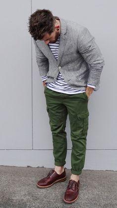 Breton stripes and amazing shoes.