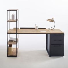 Hiba Steel/Solid Oak Desk with Shelving Unit LA REDOUTE INTERIEURS Industrial style furniture in solid joined oak and metal, providing 2 pieces of furniture in one. The Hiba desk-shelving unit combines contemporary. Solid Oak Desk, Home Office Decor, Loft Furniture, Scandinavian Kitchen Design, Metal Desks, Home Decor, Industrial Style Furniture, Desk Design, Furniture Design
