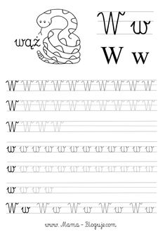 SZABLONY DO NAUKI PISANIA LITER - LITERKI M - Z - Mama Bloguje Tracing Worksheets, Alphabet Worksheets, Kindergarten Worksheets, Handwritten Letters, Cursive, Polish Alphabet, Teacher Inspiration, Kids Writing, Toddler Learning
