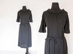 Vintage 1960s Dress  Black Rayon Knit Short by dejavintageboutique