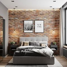 Things That You Need To Know When It Comes To Industrial Decorating You can use home interior design in your home. Even with the smallest amount of experience, you can beautify your home. Industrial Bedroom Design, Luxury Bedroom Decor, Home, Home Bedroom, Luxurious Bedrooms, Brick Wall Bedroom, Modern Bedroom, Bedroom Wall, Brick Interior