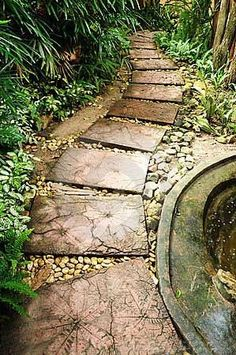 PATHWAYS – DIY pathway leaf pavers… — Gotta love that reddish color too, as opposed to gray concrete. PATHWAYS – DIY pathway leaf p Stepping Stone Pathway, Stone Garden Paths, Garden Stones, Paving Stones, Leaf Stepping Stones, Paver Pathway, Garden Pavers, Stone Paths, Front Walkway