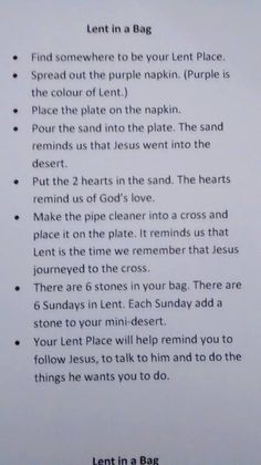 Lent in a bag by Mary Hawes Religion Activities, Teaching Religion, Bible Activities, Church Activities, Catholic Lent, Catholic Religious Education, Catholic Crafts, Sunday School Lessons, Sunday School Crafts