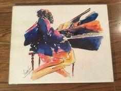 "Michael Smiroldo Original Signed Watercolor Jazz Musician Pianist 14 X 11"""
