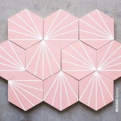 tiles Patterns Powdery pink hexagonal cement tile with white linear dandelion inspired pattern from Mosaic Factory. Customise online in your own favourite pink tone! Geometric Tiles, Hexagon Tiles, Patterned Wall Tiles, Floor Patterns, Tile Patterns, Bathroom Floor Tiles, Tile Floor, Kitchen Tiles, Decorating Kitchen