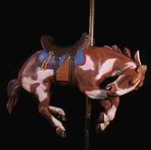 A very rare bucking carousel horse by Herschell Spillman, c. 1918. Grower Collection. William Manns photo.