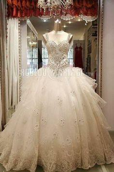 -35 % Robe de mariée de luxe princesse  Prix : €354,99 Cliquez pour plus détaille : http://www.robedumariage.com/col-en-coeur-bretelle-fine-princesse-perles-tulle-broderie-robe-de-mariee-de-luxe-product-7466.html