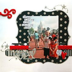 Disney Scrapbook Layout- maybe for the Mickey and Minnie layout Vacation Scrapbook, Disney Scrapbook Pages, Scrapbook Page Layouts, Scrapbook Paper Crafts, Scrapbook Cards, Scrapbook Photos, 12x12 Scrapbook, Disney Crafts, Disney Fun