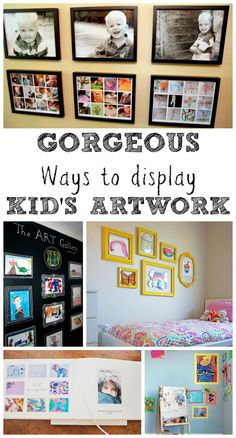 Ways to Display Kids Art Work Gorgeous ways to display kids artwork in your homeGorgeous ways to display kids artwork in your home Displaying Kids Artwork, Artwork Display, Display Kids Art, Organizing Kids Artwork, Childrens Art Display, Display Ideas, Art Wall Kids, Art For Kids, Crafts For Kids