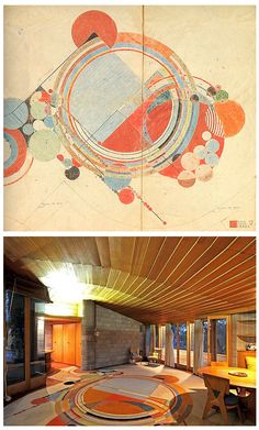 """David and Gladys Wright Residence Carpet Design. The carpet was installed after Guerrero photographed the home in 1953. It had its origins in 1926. Wright adapted the design for the carpet from a design from one of a series of 12 abstracts he created for the covers of Liberty Magazine in 1926-28 entitled """"March Balloons. Courtesy of The Frank Lloyd Wright Foundation."""