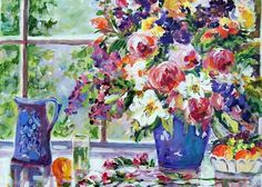 """Cottage Bouquet"""".........16x20 worked in acrylics on a wrap around canvas.......SOLD"""