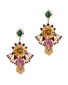 Elizabeth Cole Multi Floral Earrings: Floral statements to adorn your ears. 2 1/2 long. Post back for pierced ears. In gold tone. Made in ...