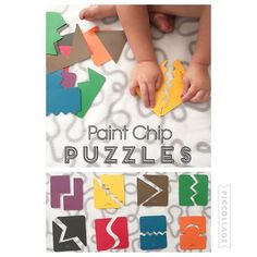 Paint Chip Puzzles {Free Puzzles! I went and got these paint chips from Lowes and cut them up for Bree. She loves all the different colors!} #toddlerfun #toddlerpkay #toddlerpuzzles #toddleractivity #toddleractivities #toddlerapproved #toddlereducation #toddlerlearning #puzzles #freegame #busytime #toddlerbusytime #busybag #busykids