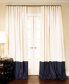 Oyster Linen with Navy Border in Cartridge Pleat