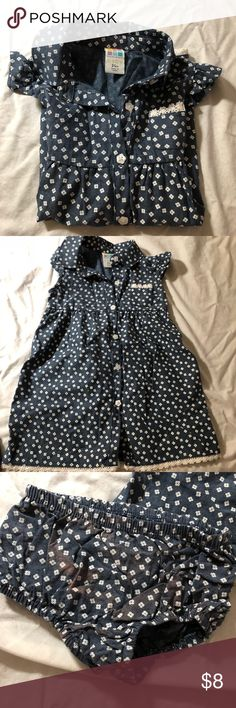 Toddler casual spring dress Literally worn once. Dress part is in perfect condition, no flaws, the diaper cover is flawed as pictured. Husband doesn't know how to do laundry apparently! Can't tell when they're on tho Dresses Casual