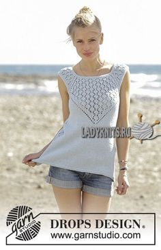 Crashing Waves - Knitted top with raglan and lace pattern, worked top down in DROPS Cotton Light. Sizes S - XXXL. - Free pattern by DROPS Design Knitting Patterns Free, Knit Patterns, Free Knitting, Knitting Ideas, Knitting Needles, Drops Patterns, Womens Sleeveless Tops, Drops Design, Summer Knitting