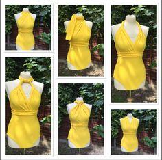 Infinity multiway Swimsuit bodysuit  bright yellow retro one-piece high waisted swimwear sizes 6-14