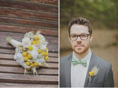 Love the cotton and yellow billy balls in this bouquet!  A Wedding in a Cave: Sage + Colin
