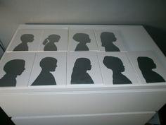 silhouetten van kinderen. op een tegeltje.