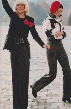 Left: Franck Olivier pants, Remona blazer. Real shirt, La Bagagerie belt. Right: Rottemberg jacket, Arlette Nastat pants, Carvil boots, J.-C. Brosseau boots . Elle France 1971. Photo by Elizabeth Novick