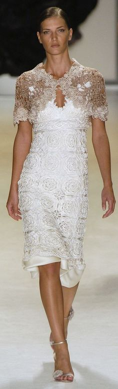 Carlos Miele white lace cocktail dress