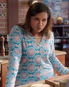 85d693c734 Mindy s blue medallion printed pajamas on The Mindy Project