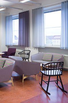 Helsinki vocational college / Design by Sistem Interior Architects Interior Architects, Helsinki, Rocking Chair, Design Projects, Interior Design, School, Furniture, Home Decor