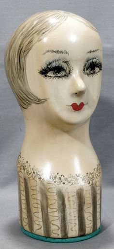 French Millinery Ladies Mannequin Head 1930
