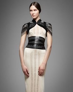 Beautiful shapes and laser-cut detailing from a medieval inspired collection from Jitrois Spring 2013