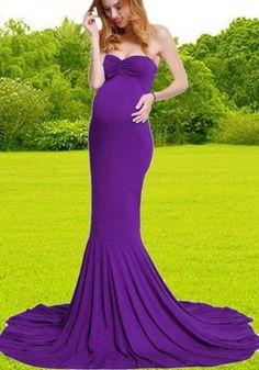 c5c0f15793e4b Purple Bandeau Backless Off Shoulder Mermaid Swallowtail Train Photoshoot Baby  Shower Maternity Maxi Dress