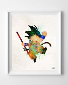 Drazon Ball Watercolor Print Son Goku Painting by InkistPrints, $11.95 - Shipping Worldwide! [Click Photo for Details]