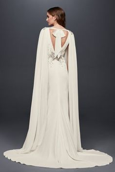 Cool An ethereal wedding dress topper this flowing floor length chiffon cape features a