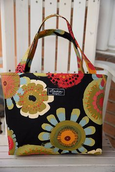 Cosmos Boxy Tote Bag with Quilted interior by ElisaLou on Etsy, $70.00
