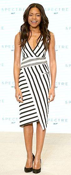 Naomie Harris dazzled in a striped asymmetrical Altuzarra dress and Casadei heels.