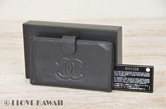 CHANEL Black Caviar Skin Leather Bifold Coin Purse Wallet
