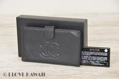 CHANEL Black Caviar Skin Leather Bifold Coin Purse Wallet