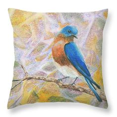 Yellow pink blue bird pillow - accent throw deco - to put on bedding