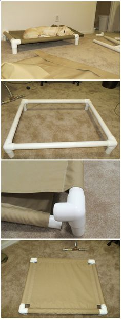 Dog Bed - DIY PVC Pipe Dog Cot - 48 DIY Projects out of PVC Pipe You Should Make