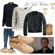 A Dr. John Watson Inspired Style - Polyvore (i actually, personally, think that a fem!lock cosplay of John Watson would not have any jewelry except for, maybe, a single band around your pinky or studs in both ears, but other than that the outfit is amazing)
