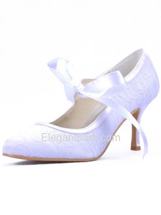 Ivory Almond Toe Stiletto Heel Lace Bridal Wedding Party Shoes (A3039) – Elegantpark.com
