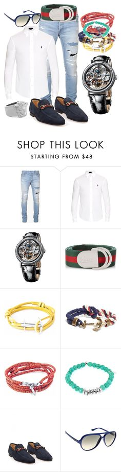 """City Walker Quiet Evening"" by bvn01 ❤ liked on Polyvore featuring Balmain, Polo Ralph Lauren, Breguet, Gucci, Anchor & Crew, Brooks Brothers, Tateossian, Ray-Ban, Versace and men's fashion"