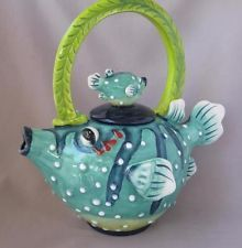 Blue Sky Clayworks Jeanette McCall Puffer Fish Tea Pot