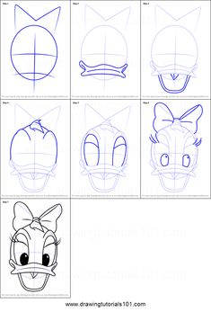 How to Draw Daisy Duck Face from Mickey Mouse Clubhouse step by step printable drawing sheet to print. Learn How to Draw Daisy Duck Face from Mickey Mouse Clubhouse Easy Disney Drawings, Disney Character Drawings, Drawing Cartoon Characters, Disney Sketches, Cartoon Faces, Cartoon Drawings, Cute Drawings, Duck Cartoon, Drawing Disney