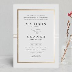 """""""Distinguished Frame"""" - Foil-pressed Wedding Invitations in Onyx by Stacey Meacham. Foil Stamped Wedding Invitations, Classic Wedding Invitations, Wedding Invitation Cards, Wedding Stationery, Wedding Cards, Gold Invitations, Invites, Wedding Ties, Wedding Paper"""