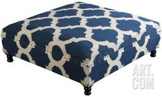 Morrocan Printed Lattice Low Ottoman - Navy Home Accessories at Art.com