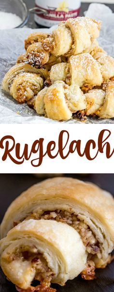 An easy flavorful cookie, Rugelach is full of nuts, honey, sugar and vanilla and rolled up into little rounds and devoured. Cookie Desserts, Cookie Recipes, Dessert Recipes, Rugelach Recipe, Rugelach Cookies, Jewish Recipes, Ukrainian Recipes, Hungarian Recipes, Russian Recipes